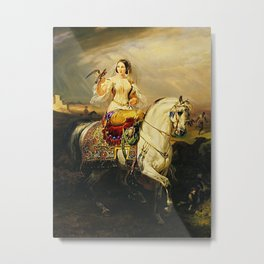 Classical Masterpiece An Algerian Lady Hawking by Horace Vernet Metal Print