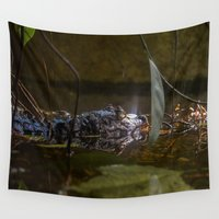 crocodile Wall Tapestries featuring caiman crocodile by Claes Touber