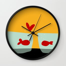 Fishes in love Wall Clock