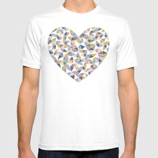 Faceted Heart MEDIUM White Mens Fitted Tee