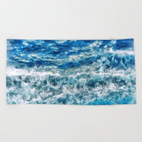 Sea foam waves Beach Towel
