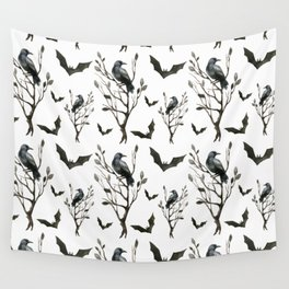 Happy Halloween pattern with hollow trees, ravens and bats Wall Tapestry