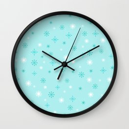 AFE Turquoise Snowflakes Wall Clock