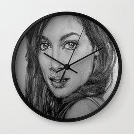 Rosario Dawson Portrait  Wall Clock