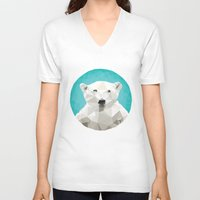 bear V-neck T-shirts featuring ♥ SAVE THE POLAR BEARS ♥ by ℳixed ℱeelings