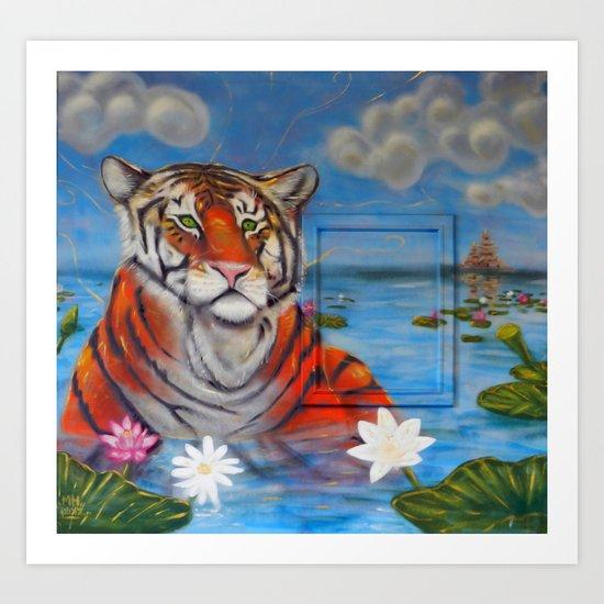 Bathing Tiger Art Print
