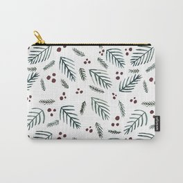 Christmas tree branches and berries - teal and burgundy Carry-All Pouch