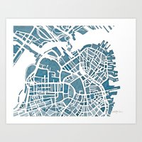 blueprint Art Prints featuring Boston Blueprint by Anne E. McGraw
