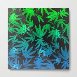 Leafy Blues Royal Stain Metal Print