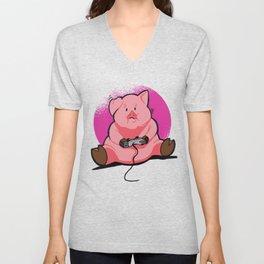 Pink Gamer Pig Piggy Hog Unisex V-Neck
