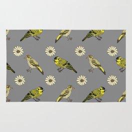 Siskin daisies grey Rug