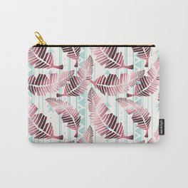 Tropical pink leaves floral pastel green zigzag geometrical Carry-All Pouch