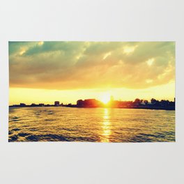 Sunset watEr :Houses Off the River Rug