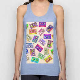Retro 80's 90's Neon Patterned Cassette Tapes Unisex Tank Top