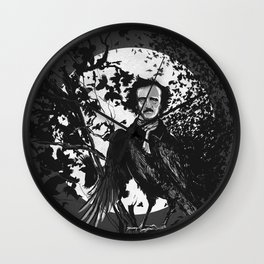 Unlikely Meeting in The Moonlight with Mr Edgar Allan Poe Wall Clock