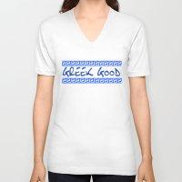 greek V-neck T-shirts featuring Greek god greek key by anto harjo