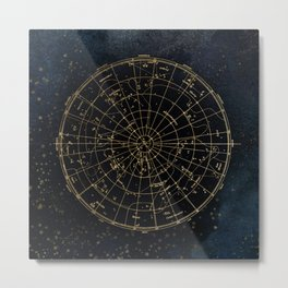 Golden Star Map Metal Print