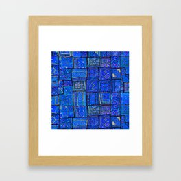 V2 Calm Blue Traditional Moroccan Cloth Texture. Framed Art Print