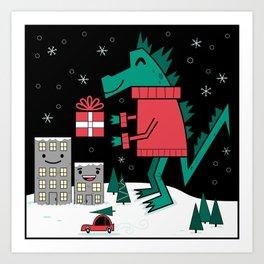 Kaiju Christmas Art Print