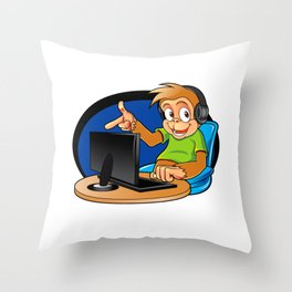Monkey and the computer Throw Pillow