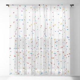 Minimalist artsy trendy rainbow colors confetti  Sheer Curtain