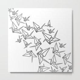 Origami Cranes Linocut Metal Print