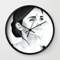 emma watson Wall Clocks featuring Emma Watson by Moira Sweeney