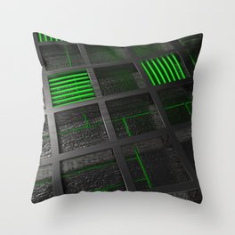Futuristic industrial brushed metal grate with glowing lines Throw Pillow