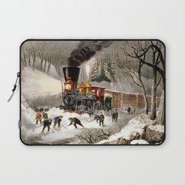 Snow Bound: Vintage Railroad Scene Laptop Sleeve
