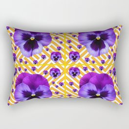 PURPLE PANSIES  FLOWERS & YELLOW PATTERNS  ART Rectangular Pillow