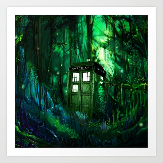 Tardis in the forest 2 Art Print