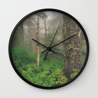 forrest Wall Clocks featuring Foggy Forrest by Donovan Bennett Designs