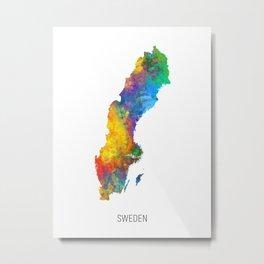 Sweden Watercolor Map Metal Print