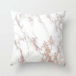 Rosey Marble Throw Pillow