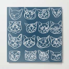 Blue and White Silly Kitty Faces Metal Print