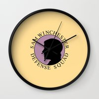 sam winchester Wall Clocks featuring Sam Winchester Defense Squad by Golden Irises