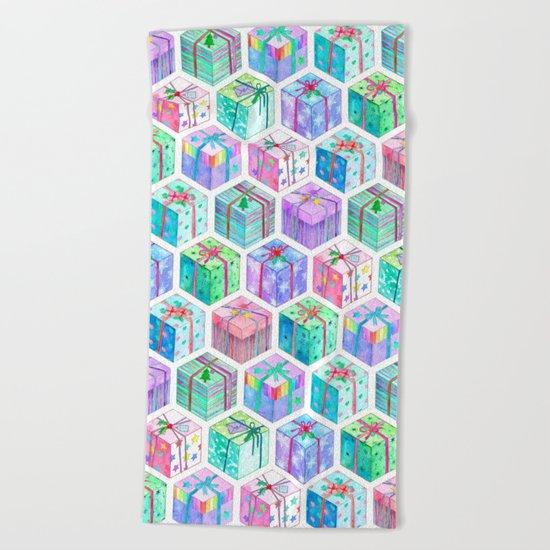 Christmas Gift Hexagons Beach Towel