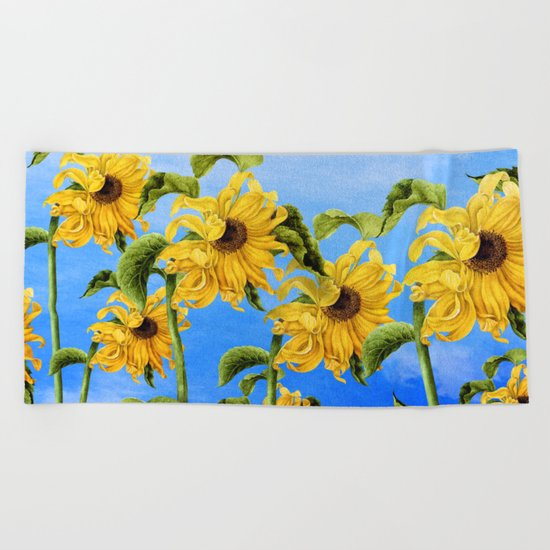 Where the Sunflowers Grow Beach Towel
