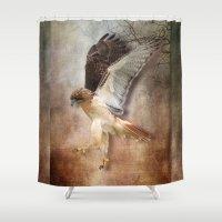 hawk Shower Curtains featuring Evening Hawk by naturessol