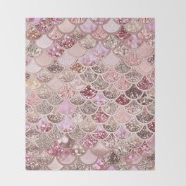 Rose Gold Blush Glitter Ombre Mermaid Scales Pattern Throw Blanket