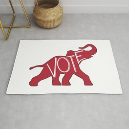 Vote Republican Party Red Elephant Rug