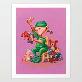 Elf Karl - Fluffy Animals & Dolls Department Art Print