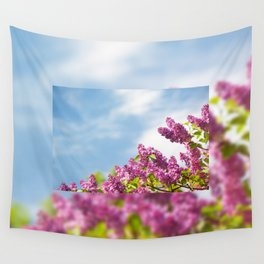 Lilac pink inflorescences grow in garden Wall Tapestry