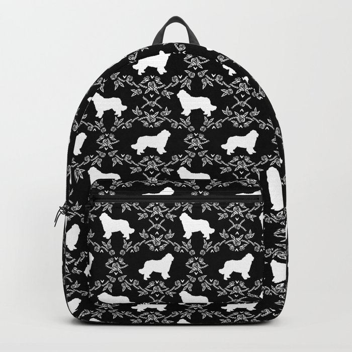 Newfoundland floral silhouette dog breed pattern gifts Rucksack