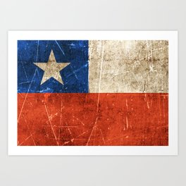 Vintage Aged and Scratched Chilean Flag Art Print