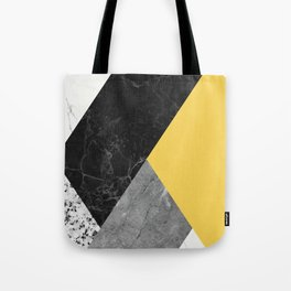 Black and White Marbles and Pantone Primrose Yellow Color Tote Bag