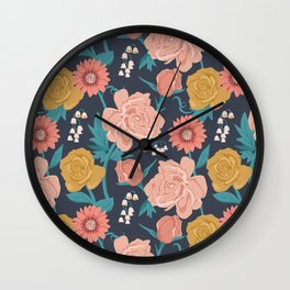 Paint by Numbers Florals on Navy Wall Clock
