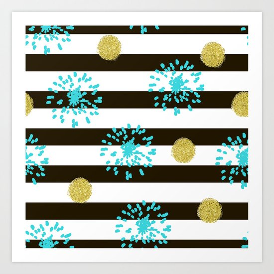 A festive mood. Striped background black and white with blue fireworks and Golden peas . Art Print
