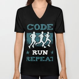 Code Run Repeat I Running Tee For Developers and Programmers Unisex V-Neck
