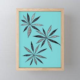 Elegant Thin Flowers With Dots And Swirls Framed Mini Art Print